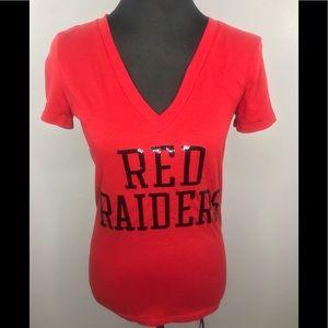PINK V-neck Red Raiders Tshirt